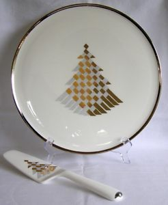 Daniel Hechter Holiday Classic Gold Silver Ribbon Christmas Tree Cake Plate Set