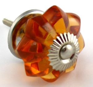 LG Amber Glass Cabinet Knobs Vintage Drawer Pull K27