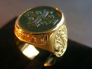 Custom Engraved Stone Family Crest Gold Plated Sterling Silver Ring