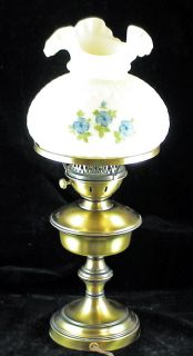 Fenton Table Lamp Satin Custard Glass Shade Signed