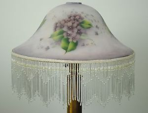 Vintage Victorian Hand Painted Floral Frosted Glass Lamp Shade w Glass Fringe