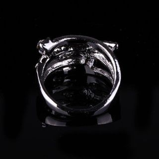 Ladies Women Silver White Gold Plated Austrian Crystal Ring Made in Korea RG1