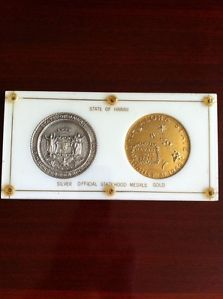 RARE 2ms 1 1959 Hawaii Statehood Gold Silver Plated Medallic Art Hawaiian Medals