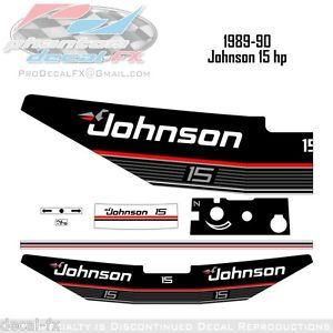 1989 1990 Johnson 15 HP Outboard Reproduction 6 Piece Vinyl Decals Fifteen
