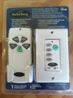 New Harbor Breeze Universal Ceiling Fan Light Remote with Wall Command Control
