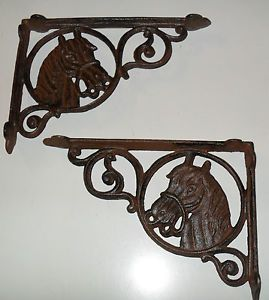 Cast Iron Western Texas Rodeo Horses Wall Shelf Brackets Pairs
