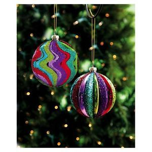 New Set of 2 Glass Glitter Ornament Balls Whimsical Holiday Christmas Tree Decor