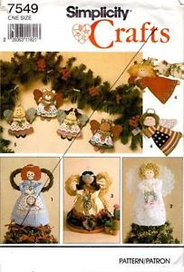 Simplicity 7549 Angel Tree Topper Ornaments Christmas Decor Sewing Pattern Unct