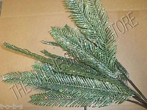 6 Frontgate Teal Fern Holiday Christmas Tree Floral Ornament Picks 46443 Decor