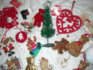 Sale Lot Red Themed Ornaments Vintage Christmas Decoration Tree Decor Teddy Bear