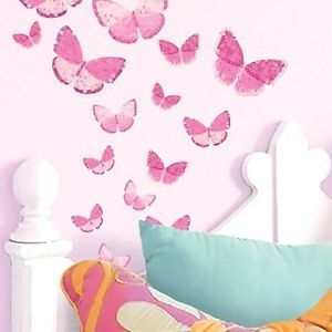 Wall Stickers Home Decor New Kids Room Butterflies Decals Girl Pink