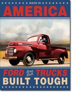 Vintage Ford Trucks Built Tough Metal Tin Sign Auto Car Garage Home Wall Decor