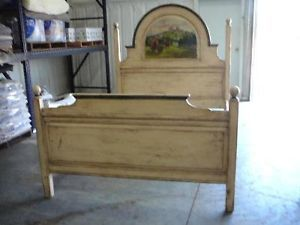 White Shabby Chic Queen Bed with Hand Painted Buffalo Scene in Headboard