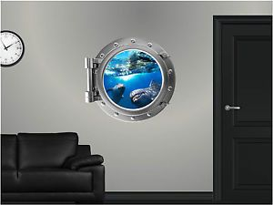 "24"" Portscape Instant Sea Window Dolphin 1 Wall Graphic Port Hole Decal Sticker"