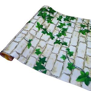 Stone Wall Plant Removable PVC Self Adhesive Wall Contact Paper 5M 16ft