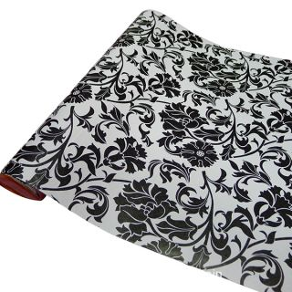 Black Flower Pattern Removable PVC Self Adhesive Wall Contact Paper 5M 16ft