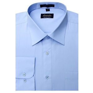 Mens Dress Shirt Plain Light Blue Modern Fit Wrinkle Free Cotton Blend Amanti