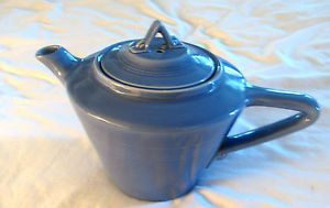 Homer Laughlin Harlequin Blue Teapot Art Deco Style