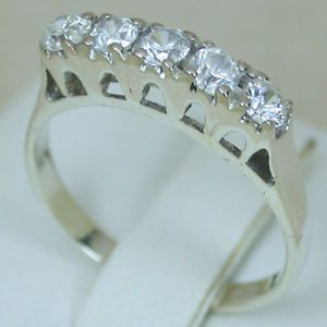 1 01 Carats 14k Solid White Gold Natural Ice White Sapphire Cluster Band Ring