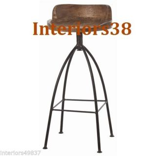 Modern Industrial Rustic Chic Wood Iron Swivel Counter Bar Chair Stool