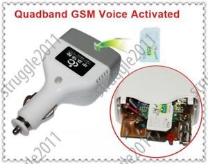 Quadband Sound GSM Voice Activated Sim Card Spy Ear Bug SMS Control Car Charger