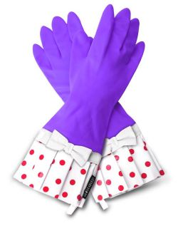 Gloveables Grandway Rubber Gloves Lavender Purple Retro Gardening Kitchen Dish