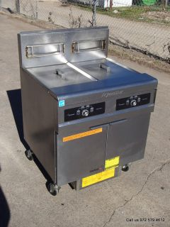 Frymaster Gas Double Deep Fryer 50 lbs Each with Filtration System Mfg in 2011
