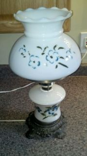 Antique Lamp Milk Glass Shade Hand Painted Flowers Illuminating Base Vintage