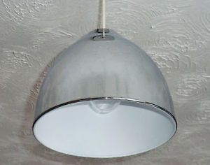 Retro Vintage Style Chrome Metal Light Lamp Shade Pendant Dome Industrial Funky