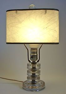 Vintage Art Deco Glass Base Table Lamp w Fiber Glass Shade