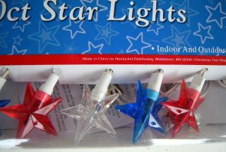 Americana Star Red White Blue String Lights Outdoor 20
