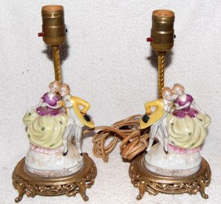 Pair Vintage Antique Victorian Style Porcelain Figurine Lamp Brass Base Shade