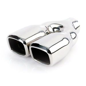 "Exhaust Tip Stainless Dual Square 2 25"" Inlet Dual 3 2"" Outlet 9 5"" L"