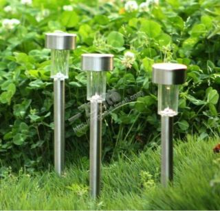 1x Outdoor LED Solar Stainless Steel Lights Landscape Lamp Garden Lawn Backyord