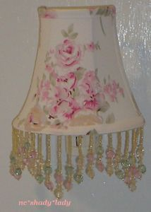 Beaded Lamp Shade Night Light M w Rachel Ashwell Blush Beauty Roses Fabric