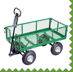 600lb Heavy Duty Garden Yard Gardening Wagon Utility Lawn Ride on Rolling Cart