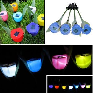 4X Blue Tulip Landscape LED Solar Powered Lamp Light Outdoor Yard Garden Pathway