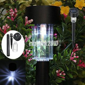 White Color LED Solar Lawn Light Garden Outdoor Landscape Stake Path Lamp C0