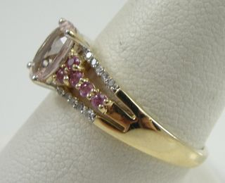 14k Yellow Gold Ring Kunzite Pink Sapphires Diamonds Size 9 Prong Set Tri Stone