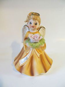 "Vintage Lefton June Birthday Angel Music Box Musical Figurine "" Happy Birthday """