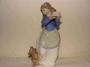 "Delightful Nao by Lladro ""Puppys Birthday"" Girl with Cake Puppy Dog Figurine"