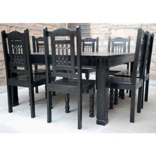 Rustic Black Square Large 64 Dining Table Chairs Set Solid Wood Furniture for 8