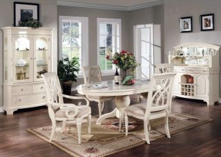Formal Dining Room 8 Piece Set Oval Table Chairs White