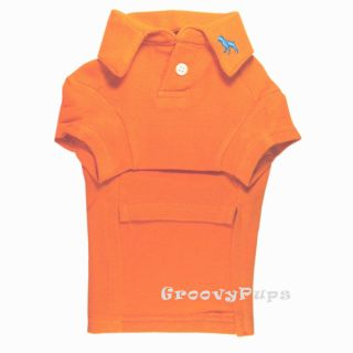 763 XS L Orange Cotton Mesh Polo Shirt Dog Clothes
