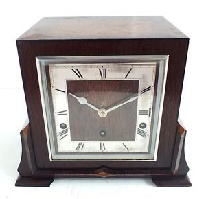 Garrard Rich Oak Westminster Chime Mantle Clock Antique Art Deco Mantel Clock