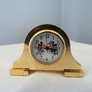 Disney Mickey Minnie Mouse Miniature Mantle Clock