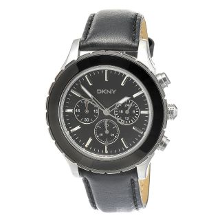 Mens Black Leather Chronograph Watch