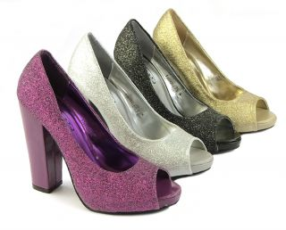 New Womens Gold Silver Black Purple Glitter Cuban High Heels Sz Size 3 4 5 6 7 8
