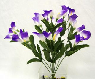 27 Silk Purple Calla Lilies Wedding Bouquet Flowers