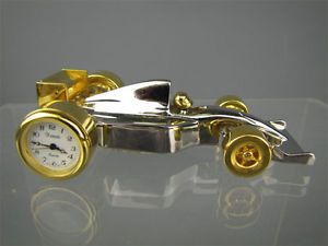 Mini Race Car Clock Silver Gold Xanadu Quartz JP Movt